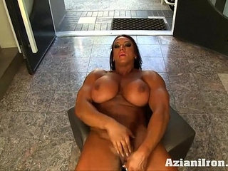 Aziani Iron Amber Deluca Amazon Bodybuilder with her Huge Clit | clit