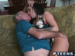 A slutty young brunette prostitute takes care of a horny grandpas dick   brunettedickgrandpahornyprostituteslutty