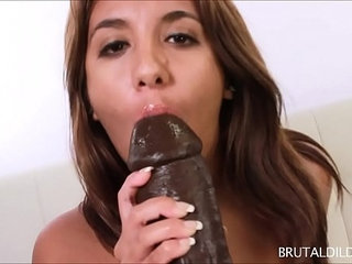 Chubby brunette Lola feeds her pussy a fat brown dildo | brunettechubbydildofatpussy