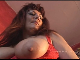 Busty mature babe strips and spreads her shaved pussy   babebustyshaved